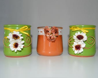 set of 3 small jars customized Upcycled spring theme
