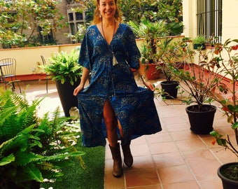 Rayon dress with front opening. Blue dress, long silky dress, summer dress, boho dress, hippy chic