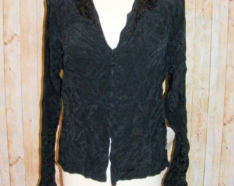Size 16 vintage 80s crochet lace collar l/sleeve blouse silky black BNWT (HM80)