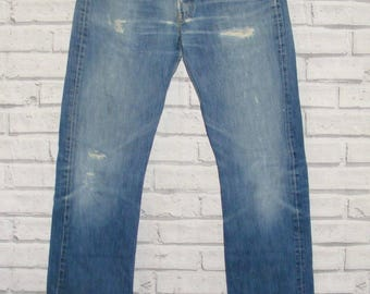 Size 32L W32 L34 vintage 80s/90s Levi's 501 jeans ripped/frayed fade blue (IA52)