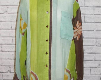 Size 18 vintage 80s long length/sleeve shirt sheer floral print/stripes (IC94)