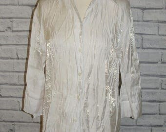 Size 14 vintage 90s crinkle blouse 3/4 sleeve semi fitted shimmery white (ID05)