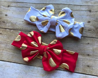 Christmas messy bow headband