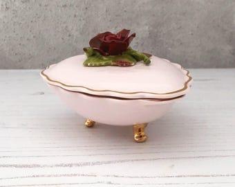 Vintage Denton Bone China Heart Shaped Trinket Box - Pink -