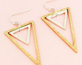 Worn Two-Tone Double Triangle Earrings