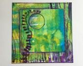 "Miniature Collaged Art Card. ""Inner Space 3"" . Original Abstract Art Card"
