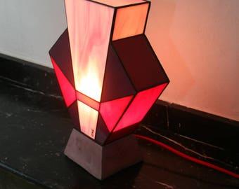"Art Deco stained glass Tiffany lamp ""Simplissime Kenza"" polished concrete base"