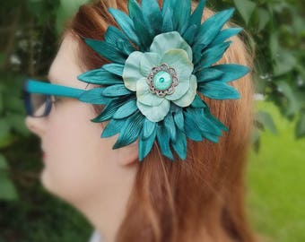Hair clip,flower clip, hair flower,flower hair accessory,turquoise flower, flower pin,girl gift, gift under 50, purse accessory, purse pin