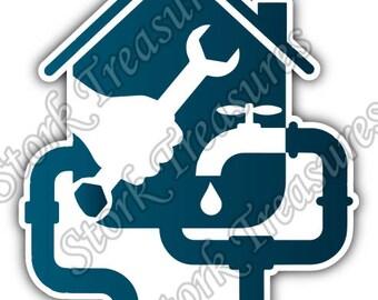 Plumbing Plumber Pipe Monkey Wrench Car Bumper Vinyl Sticker Decal