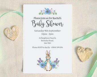 Baby shower invitation, Peter Rabbit baby shower invite, Beatrix Potter, Blue floral