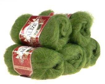 5 x 50 g knitting wool of ALIZE KID ROYAL green #485