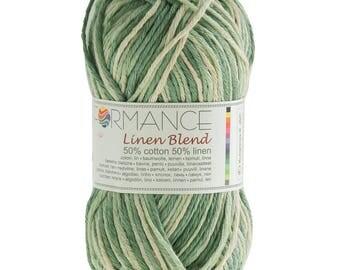 10 x 50 g knitting wool linen blend, #9090 Greens