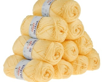 10 x 50 g knitting wool Dajana uni by VLNIKA, #465 yellow
