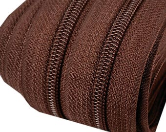 6m of endless zipper 5mm with 15 zippers and tails 299 chocolate