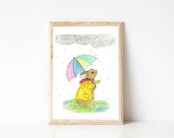 Rabbit in the Rain-Nursery Print, watercolour and pen rabbit illustration, rabbit nursery wall art, cute rabbit nursery print, rabbit print