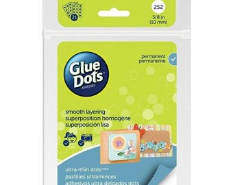 "New Years Sale: Glue Dots Clear Thin Dot Sheets Ultra Thin 3/8"" 252 dots"