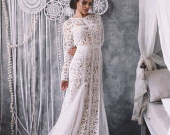 Unique Boho Wedding Dress with long sleeves and open back, 2018 by Boom Blush for bohemian bride.