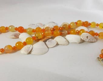 Burnt Orange Amazonite Natural Stone beaded Necklace Accented with Marmalade Swarovski with Golden Finishes