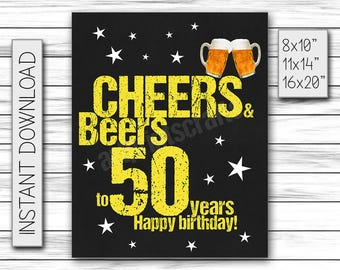Cheers & Beers to 50 Years, Birthday Sign, Cheers and Beers Party Sign, Instant Download, Chalkboard Poster, Printable DIGITAL FILE Only