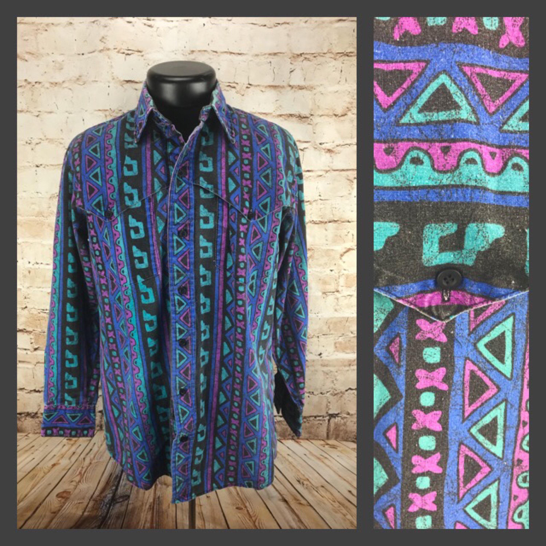 Medium Mens Vintage Button Down Geometric Neon 80s 90s Western Shirt