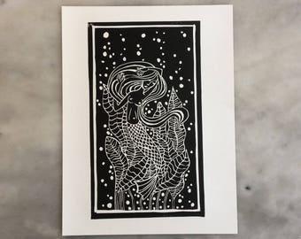 """Linoprint """"mermaid's trap"""""""