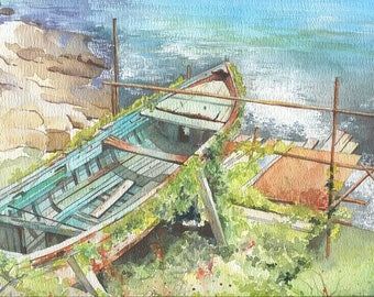Old rusty boat watercolor painting