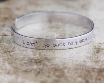 I Can't Go Back To Yesterday Because I Was A Different Person Then / Literary Jewelry / Alice in Wonderland Jewelry / Literary Bracelet