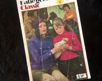 Retro 1970s Patons Knitting Book 300 Katie Equivalent to 6 Ply Katie Goes Classic, Family Knits