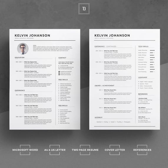 Resume Template/CV Template Cover Letter Word Resume