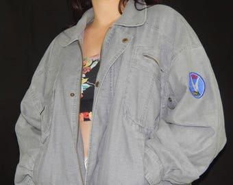 Grey Denim Jacket 'Iowa' Patch