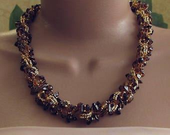 Brown gold necklace, smokey quartz necklace, brown agate necklace, chunky brown necklace, brown gold gemstone necklace, brown bead necklace
