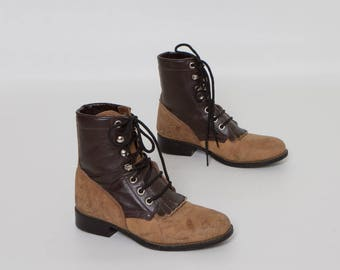 vintage 70s 80s girl's lace up ropers two tone boots for kids