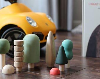 BIG Wooden Tree Toy Set 8 pcs / Woodland Toy / Wooden Toys / Waldorf Toy / Wooden forest toy / Wooden Tree figurines set