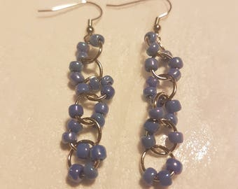Light blue glass bead chainmaille dangle earrings