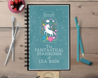 Personalized Journal, Kids Notebook, Custom Notebook, Girl Notebook, Custom Journal, Unicorn Notebook, Spiral Notebook, Gift for Her