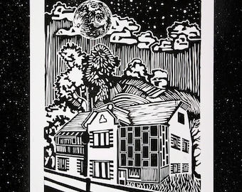 Our House linocut print
