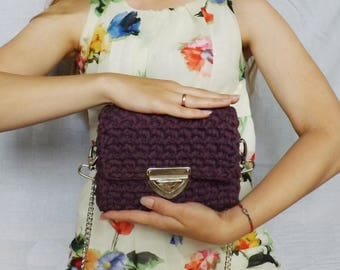 Purple clutch, Crochet clutch, Knitted purse, Crochet wallet, Purple colour purse, Gift for her, Knitted bag, Knitted purple bag