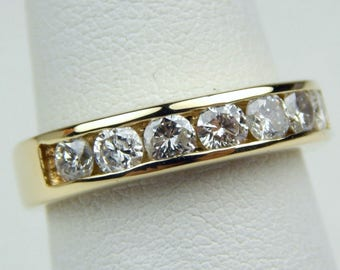 14k gold 1 Ctw diamond wedding band ring #10681