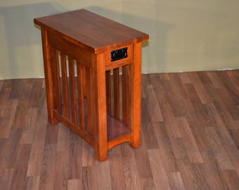 mission style solid oak narrow side table with slats nightstand with one drawer
