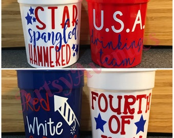 Fourth of July Cups - American Cups - Red White and Blue Cups
