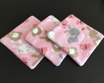 Set of (3) Three 9x9 Fleece pee pad, corner pad, potty pad, Guinea pig, hedgehog, chinchillas, rat