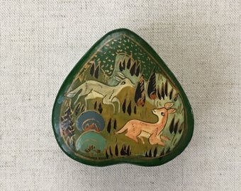 Tiny Lacquered Trinket Jewelry Box Vintage Handmade Hand Painted Animals Deer Tree Heart Shaped