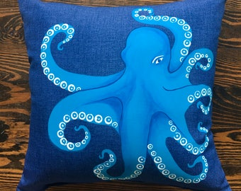 """Blue Octopus- by Lynn Cegelski, An original 13"""" x 13"""" hand painted decorative pillow"""