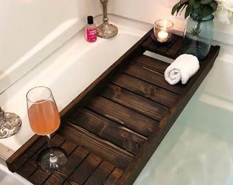 Bath Tray with Wine Holder, Bath Caddy, Bath Tray,  Wooden Bathtray, Bathtub Tray, Bath Tub Tray,