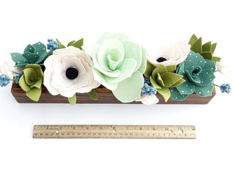 Large Rustic Wooden Planter with Felt Flowers and Succulents . Long Rectangle Floral Centerpiece . Wooden Planter Box