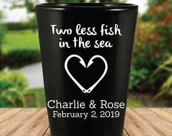 "Custom ""Two Less Fish in the Sea"" Black Wedding Favor Shot Glasses"