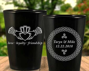 Custom Celtic Claddagh 2-Sided Black Wedding Favor Shot Glasses
