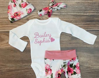 Pink and Purple Floral Print Coming Home Outfit, Personalized baby gift, custom baby gift, baby girl outfit, newborn girl outfit