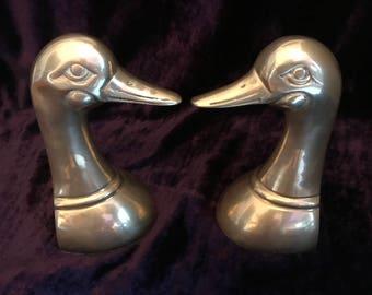 Vintage Mid Century Brass Duck Head Bird Duckhead Bookends
