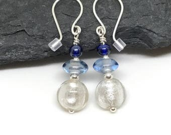 Silver Drop Earrings in Shades of Blue,  Sterling Silver, Gift for Her